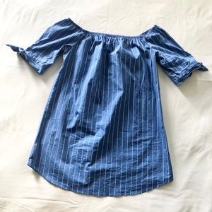 AMBIANCE Blue Striped Off the Should Dress